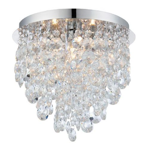 Clear crystal detail & chrome effect plate IP44 Bathroom Flush Light 61233 by Endon